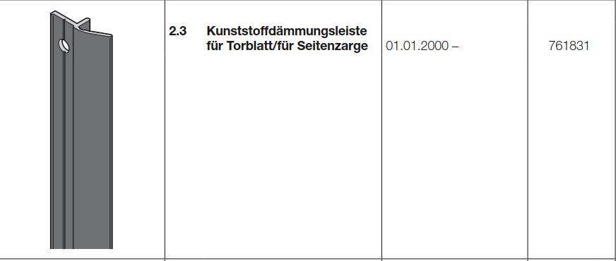 Extrem Hörmann Kunststoffdämmungsleiste für Torblatt/für Seitenzarge für VW21