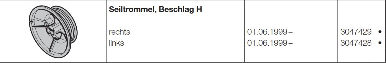 3047428 Beschlag H Hörmann Seiltrommel